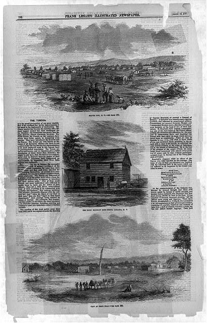 [Three illustrations: Denver City, K.T.; The Rocky Mountain News Office, Aurabia, K.T.; View at Pike's Peak]