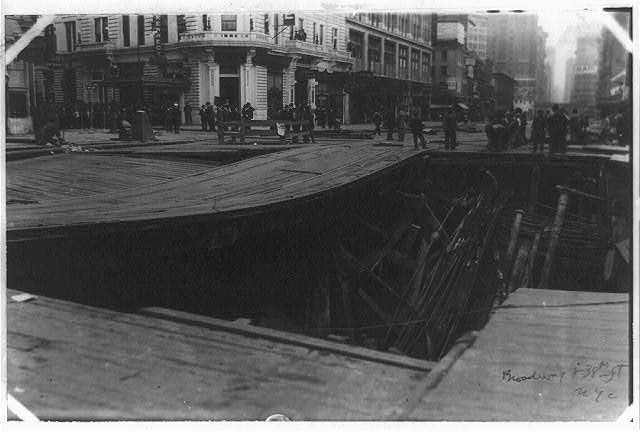 [Subway construction, Broadway and 38th Street, New York City]