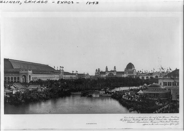 Chicago World's Fair--View looking southeast from the roof of the Woman's Building--The Japanese Buildings, Wooded Island, Liberal Arts, Agricultural, Electrical, Administration, Mining and Horticultural Buildings appear in the order named from left to right