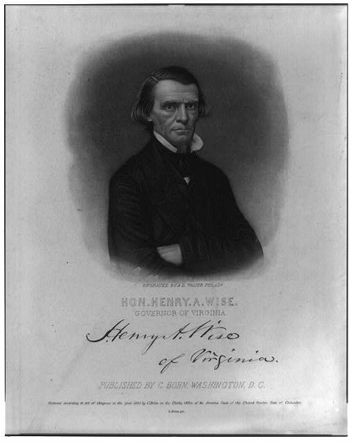 [Henry Alexander Wise, half-length portrait, facing right, arms folded]