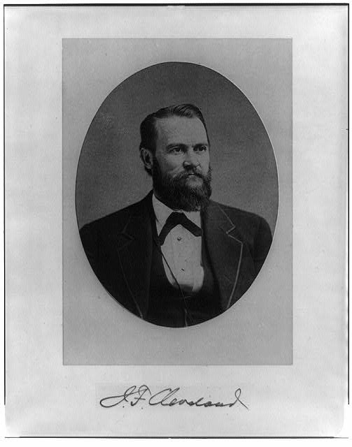 [John F. Cleveland, head-and-shoulders portrait, facing right, in oval]