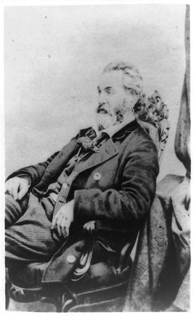 [Walt Whitman, three-quarter length portrait, seated, facing left]