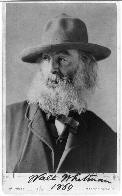[Walt Whitman, head-and-shoulders portrait, facing left, wearing hat]