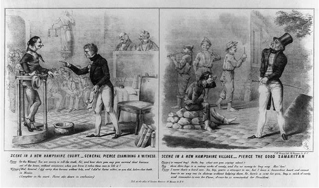 Scene in a New Hampshire court.--General Pierce examining a witness. Scene in a New Hampshire village.--Pierce the good Samaritan