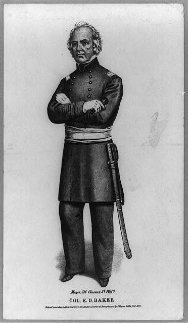 [Col. Edward D. Baker, U.S.A., full-length portrait, standing, facing left, in uniform]