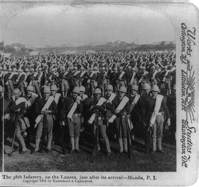 The 38th Infantry on the Luneta, just after its arrival - Manila, P.I.