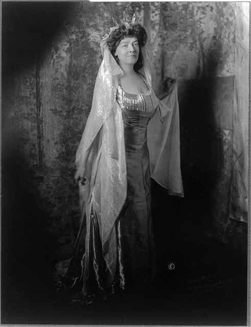 [Mrs. Carolyn Foster Stickney, full-length portrait, standing, facing right, dressed as Lady Liberty for the Jekyll Island Club costume ball, January 16, 1911]