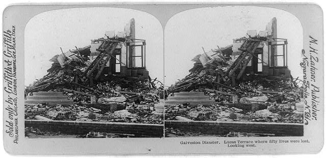 Galveston disaster - Lucas Terrace where fifty lives were lost, looking west