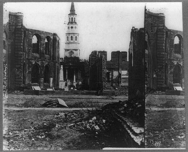Ruins of Circular Church and Secession Hall, Charleston, S.C., St. Philips Church in distance