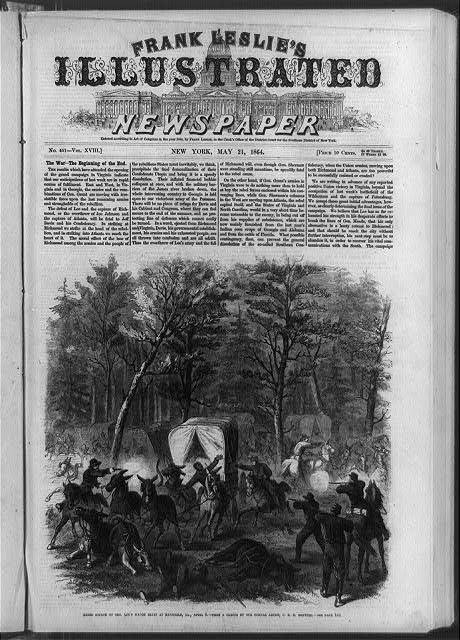 Rebel attack on Gen. Lee's wagon train at Mansfield, La., April 8