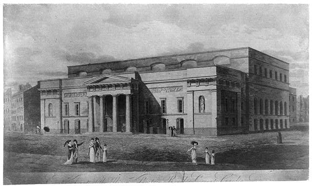 Covent Garden Theatre, London, circa 1821