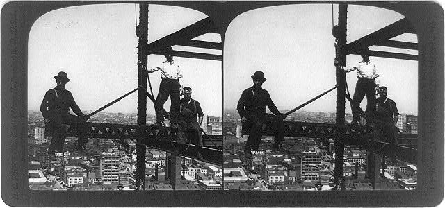 Sailors on land--agile construction workers on a suspended iron section, 200 feet above ground, New York City.  1907.