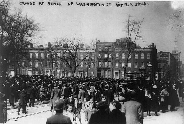Triangle Waist Co. fire, N.Y.C.--Crowds at sence [i.e. scene] of Washington St. fire, N.Y.