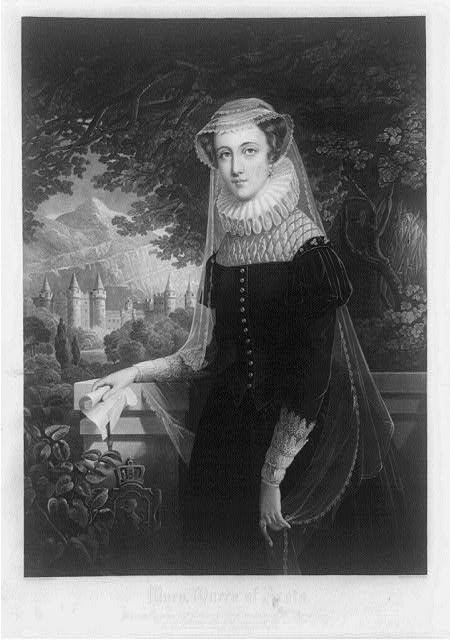 [Mary, Queen of Scots, three-quarter length portrait, standing, facing left; castle in background]