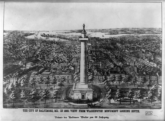 The city of Baltimore City, Md. in 1880 View from Washington Monument looking south /