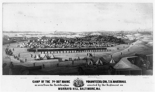 Camp of the 7th Maine Volunteers as seen from the fortifications erected by the Regiment on Murray's Hill, Baltimore