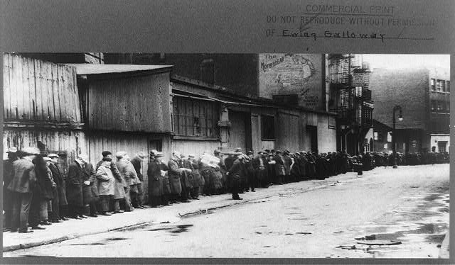 Breadline at McCauley Water Street Mission under Brooklyn Bridge, New York