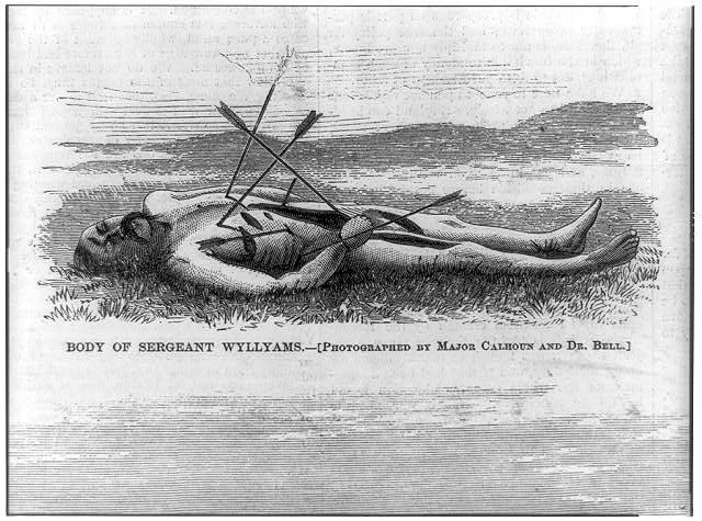 Late Indian outrages: body of Sergeant Wyllyams [stuck with arrows]