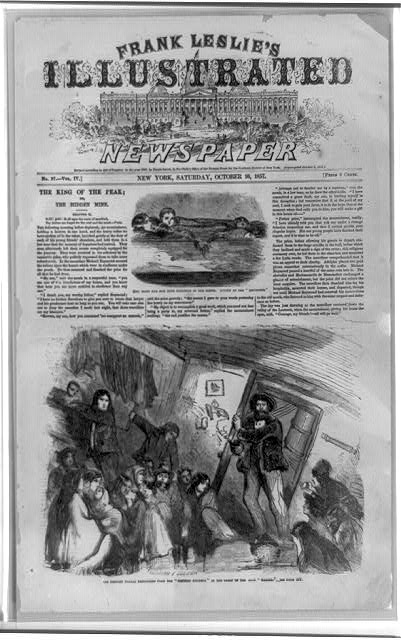 "[Loss of the Central America--Two illustrations: Mrs. Ellis and her four children in the berth, known as the ""birdsnest""; the rescued female passengers of the Central America in the cabin of the brig Marine]"