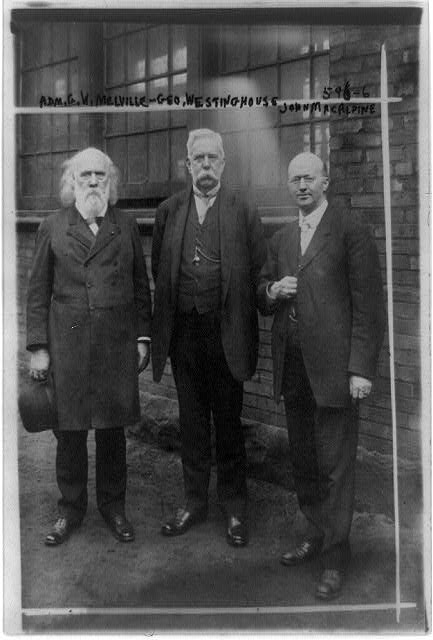 [George Wallace Melville, George Westinghouse, and John Macalpine (left to right), full-length portrait, standing, facing front]