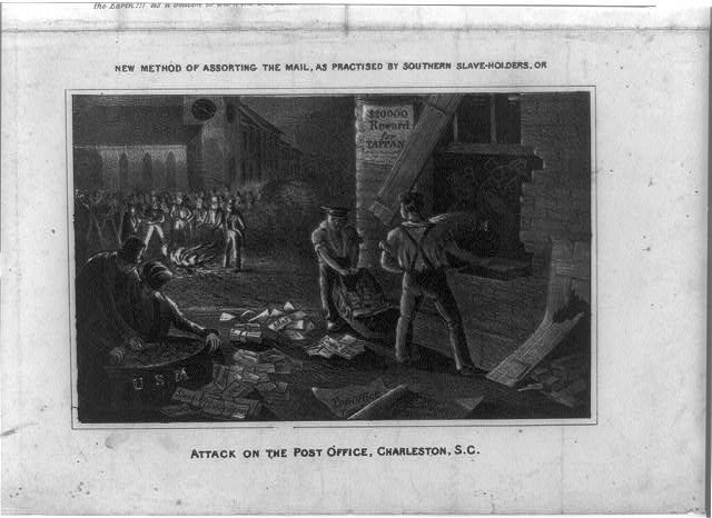 New method of assorting the mail, as practised by Southern slave-holders, or attack on the Post Office, Charleston, S.C.