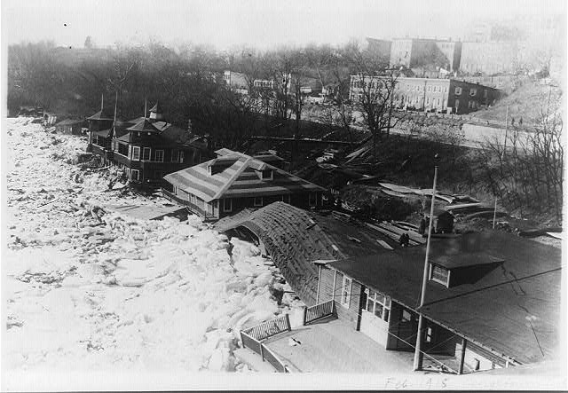 [Bird's-eye view of boathouses, along the Potomac River, Georgetown, damaged by flood]