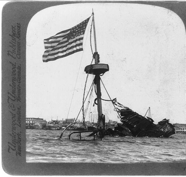 The wrecked Maine, Havana, Cuba - decorated May 30, 1902 by order of President Palma
