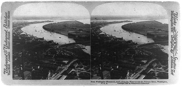 From Washington Monument, south, along the wharves and the Potomac River, Washington