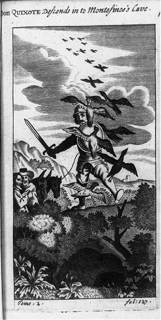 [Don Quixote, holding sword and shield and attached to line held by another man, descending into Montesino's Cave]