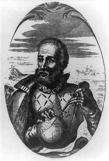 [Fernando Magellan, half-length portrait, facing left; holding globe and compass]