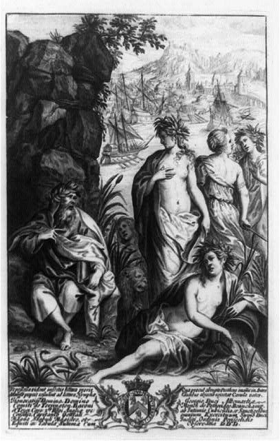 [Allegorical scene during Second Punic war, showing Roman galleys in background; with old man and women in foreground]