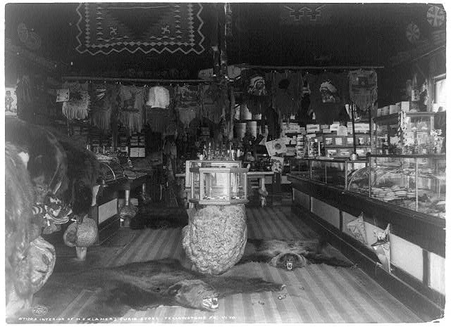 Interior of H.E. Klamer&#39;s curio store, Yellowstone Pk., Wyo.