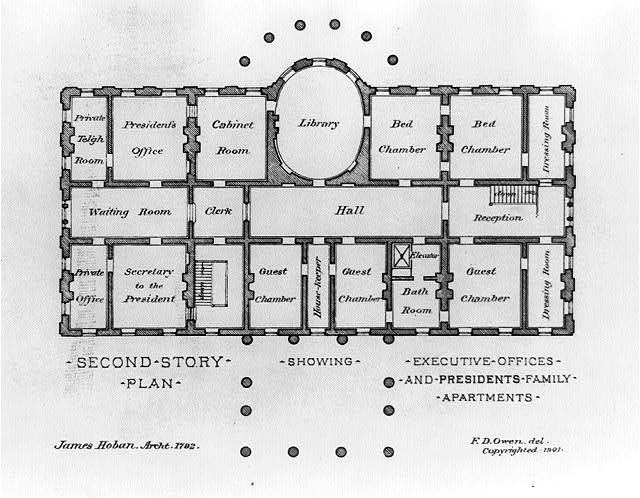 [Alterations to the Executive Mansion, for Mrs. Benjamin Harrison, Pennsylvania Avenue, N.W., Washington, D.C. Second story plan, James Hoban's plan]
