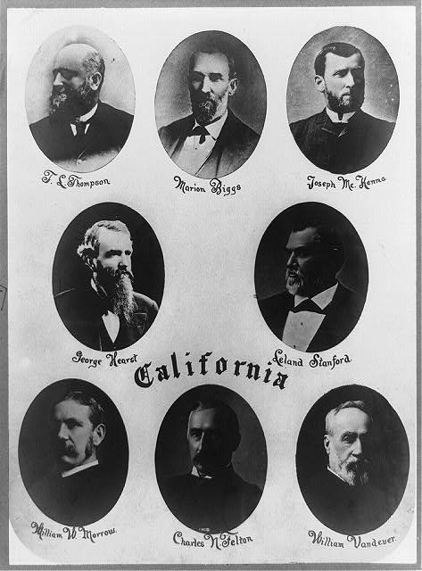 [California delegates to 50th Congress; head-and-shoulders portraits of T.L. Thompson, Marion Biggs, Joseph McKenna, George Hearst, Leland Stanford, William W. Morrow, Charles N. Felton, and William Vandever]