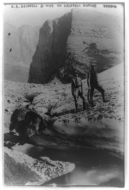 [George B. Grinnell and his wife on Grinnell Glacier]