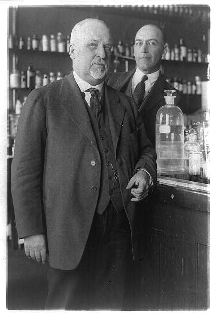 [Senator E.F. Ladd, of North Dakota, and W.G. Campbell, chief of the Bureau of Chemistry, in a laboratory]