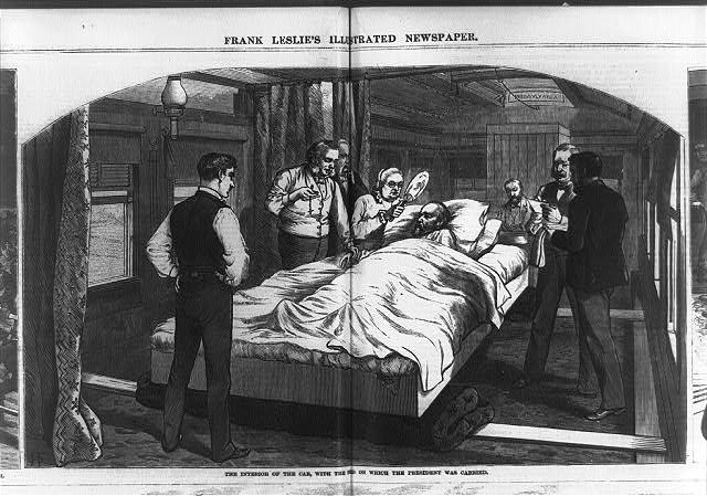 The interior of the car, with the bed on which the President was carried, Sept. 6, 1881