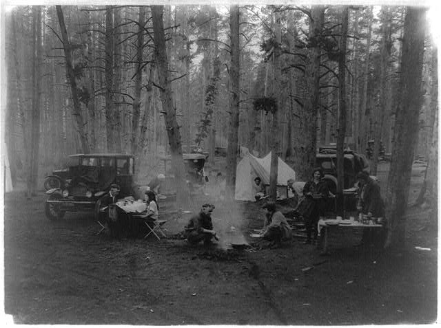 Lake Public Auto Camp Party, probably in or near Yellowstone Park