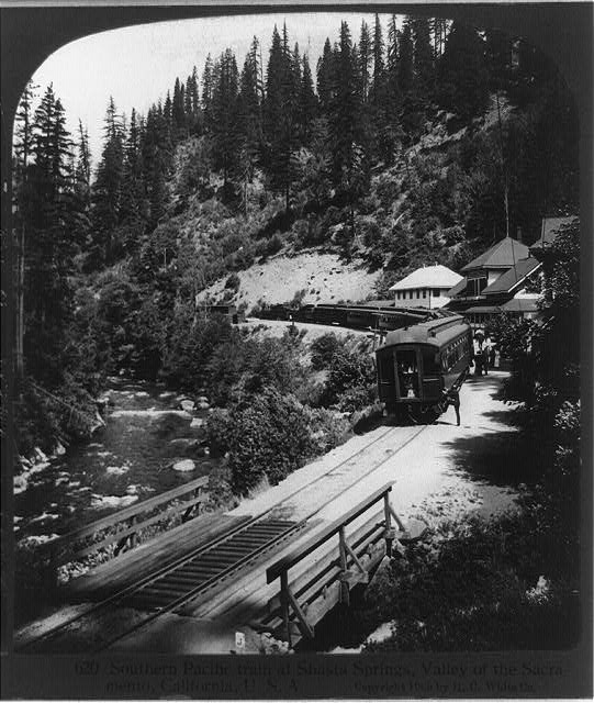 Southern Pacific train at Shasta Springs, Valley of the Sacramento, California
