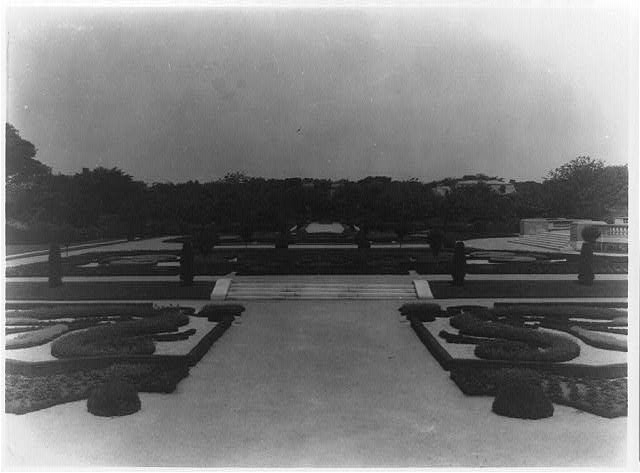 [Hamilton Rice Home in Newport, Rhode Island, showing view of formal garden]