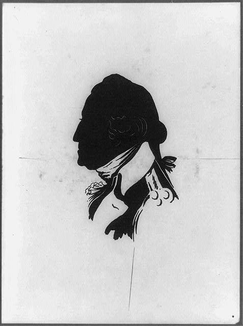 [George Washington, head-and-shoulders portrait, facing left, in silhouette]