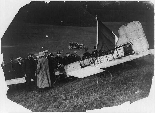[Louis Blériot with his plane after landing at Dover, 1909]