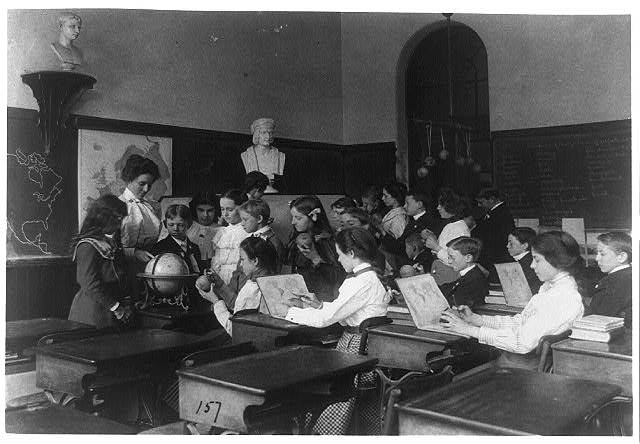 [A lesson in globe making. Children in class in a Washington, D.C., school]
