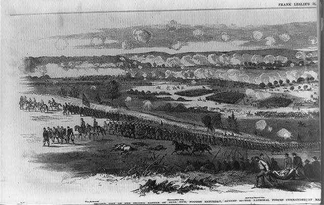 Second day of the second battle of Bull Run, fought Saturday, August 30--the National forces commanded by Major General Pope, and the rebel troops by General Lee, Jackson and Longstreet