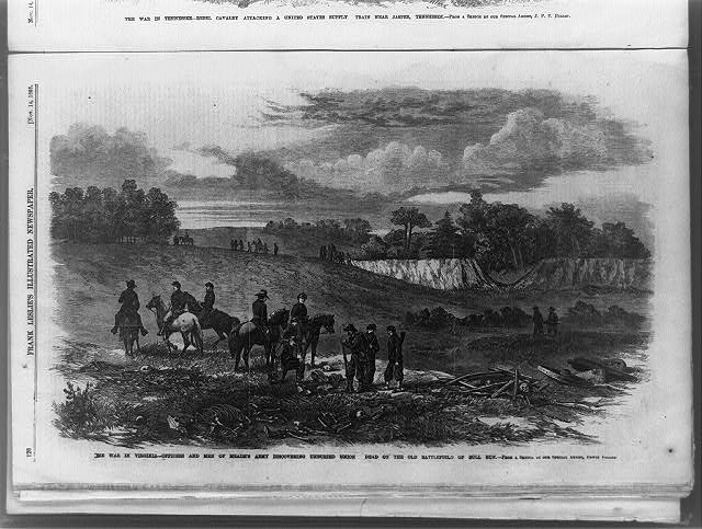 The War in Virginia--officers and men of Meade's army discovering unburied Union dead on the battlefield of Bull Run