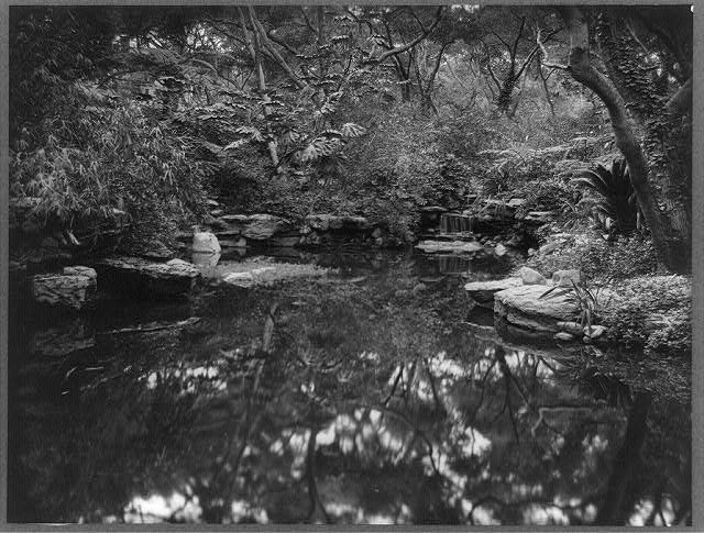 [John L. Severance House, Pasadena, California. Waterfall and pond]