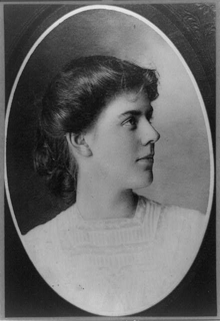 [Annie Lawrie Danforth, of Norway, Maine, head-and-shoulders portrait, in oval, facing right]