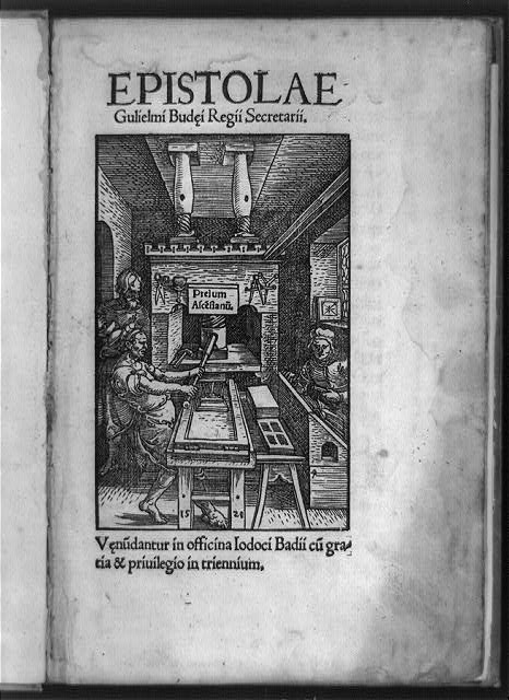 [Printing press of Joducus Badius with three workers in shop]