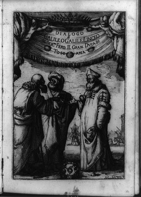 [Aristotle, Ptolemy, and Copernicus discussing matters of astronomy beneath Medici family ducal crown and banner]