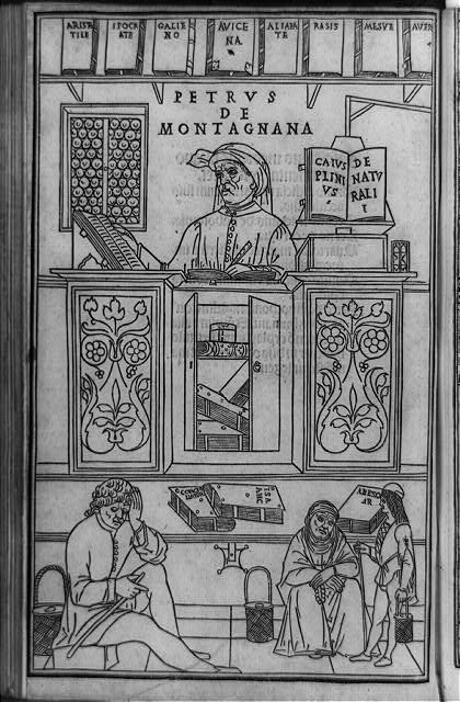 [Pietro da Montagnana, a Paduan medical teacher surrounded by Greek and Arabic medical books, and three patients waiting to have their urine examined]